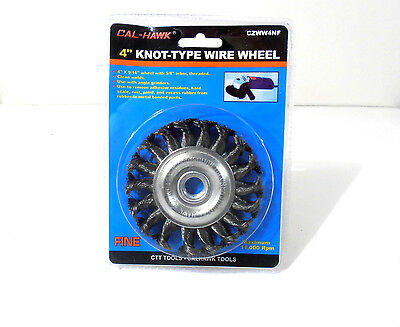 "4"" INCH x 5/8"" ARBOR KNOTTED WIRE WHEEL WITH NUT"
