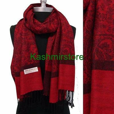 New Pashmina Paisley Floral Silk Wool Scarf Wrap Shawl Soft Red/black #F09
