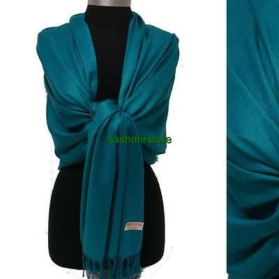 NEW Women Solid 100%Pashmina Wrap Stole Cashmere Wool Shawl/Scarf Soft Teal #03