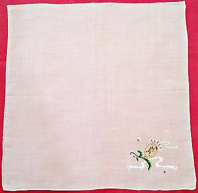 """Vintage Floral Embroidery Yellow Pink Flower White Cotton 11"""" Handkerchief"""