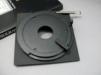 Sinar lens board w/ Copal '0' lens hole. Missing finger grip for cable.   (T10)