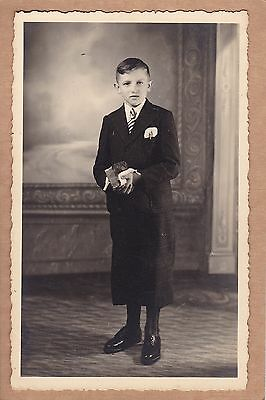 Vintage Real Photo PC - Young Boy In Suit, Tie, Handkerchief In Pocket - Child