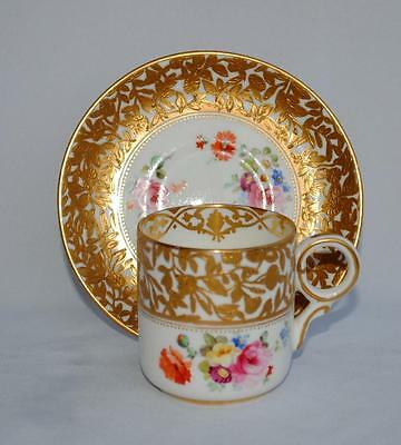 ANTIQUE LATE 19thC SUPERB ENGLISH HAND PAINTED PORCELAIN CUP/CAN & SAUCER