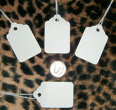 ****50****   xtra small scalloped edge white Tags with String,