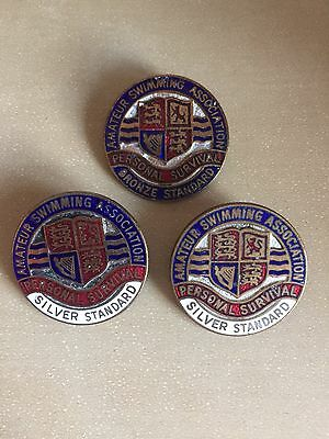 3 Amateur Swimming Association Badges Silver And Bronze Personal Survival