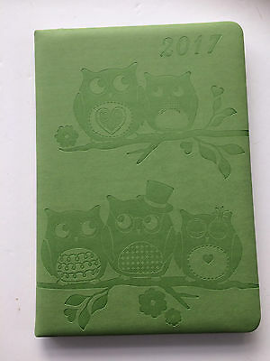 2017 Diary A5 Size Padded Green Embossed Owls Cover Week to view