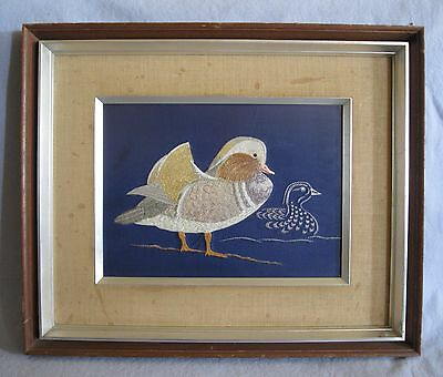 "Vintage Japanese Silk Embroidery~Ducks~Toa Hassei Eiga~Framed~Nichigaku~20""x17"""