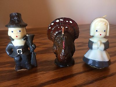 Vintage GURLEY Thanksgiving CANDLES Pilgrim girl, boy,and turkey Unused
