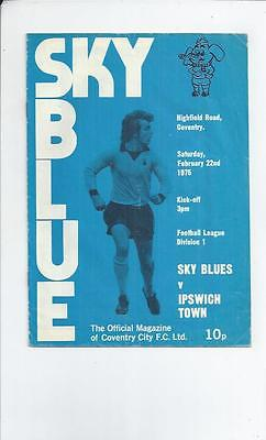 Coventry City v Ipswich Town Football Programme 1974/75