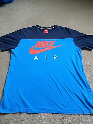 Nike Air running men's size large L blue short sleeve top, cotton, crew neck