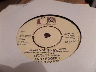 """Kenny Rogers Coward Of The County 7"""" Single 45rpm"""