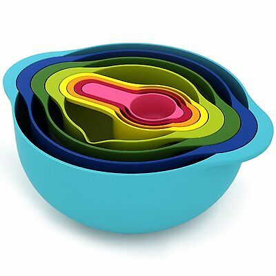 8 Pc Piece Multi Coloured Mixing Bowl Set