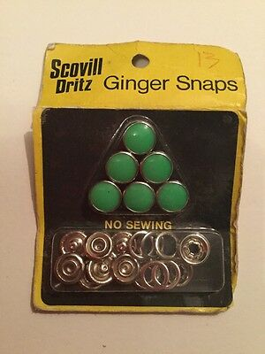 Vintage Scovill Drizzle Green Ginger Snaps Press Stud For Sewing Dressmaking