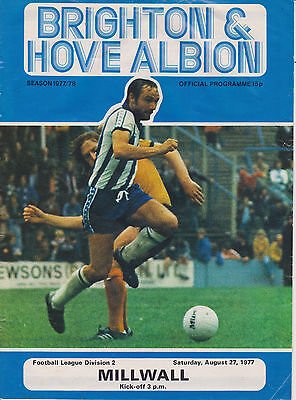Brighton And Hove Albion V Millwall  Div 2  27 August 1977