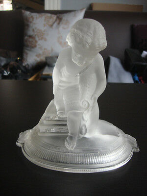 Vintage Early 19th Century Crystal Angel Child Baccarat Bowl Cover