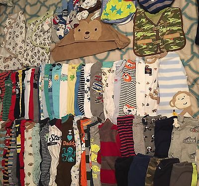 Baby Boy Clothes Lot Newborn, 0-3, 3, 3-6 Months Pajamas Swaddles 80 Pieces