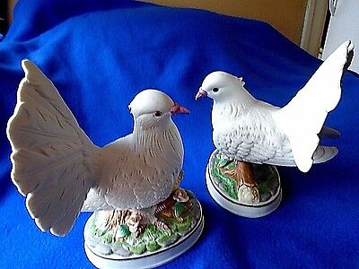 "Large White  Doves Figurine Porcelain Bisque 7-1/2 "" Tall  Base 5"" x 3-3/4"""