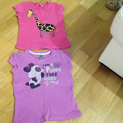 two girls benetton tops tshirts size 18-24 months