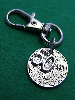 50Th Birthday Anniversary Gift Polished 1967 Lucky Sixpence 50 Charm Keyring