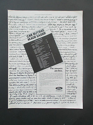 """Vintage 1972 Ford Car Buying Guide Print Ad, 13.125"""" X 10.125"""""""