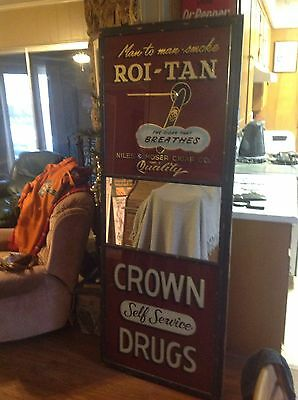 Antique Roi-Tan Niles & Moser Cigar Co. Reverse Painted Glass Sign