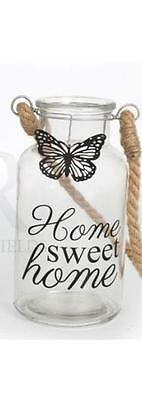 """Rustic / Shabby Chic Butterfly Phrase Storage Bottle """"Home Sweet Home """""""