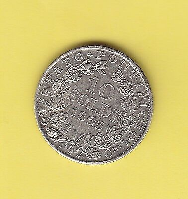 Italy Papal States  10 Soldi  1866  KM 1376  XF  rare in this condition