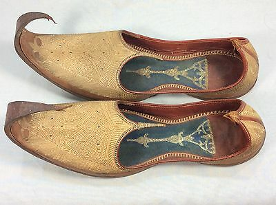 Antique Indian Khussa Jutti Shoes / Slippers, Leahter With Metallic Gold Thread