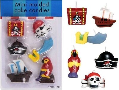 6 Pirate Party Treasure Mini Moulded Cake Cupcake Candles Tablewear Decoration