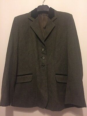 Tagg Equestrian Riding Show Hacking Tweed Jacket Green Size 36 60% Wool VGC