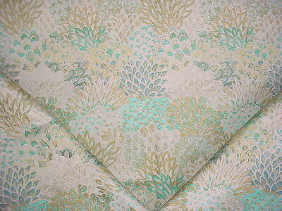 2+Y Lee Jofa  Peacock Feathers Turquoise / Citrine / White Upholstery Fabric