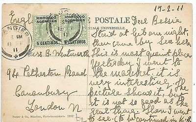 Morocco Agencies Evii 1911 Postcard Sent From Tangier To London