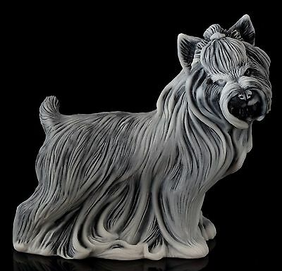 Yorkshire Terrier Marble Sculpture Russian Stone Art Yorkie Dog Figurine Statue