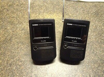 2 Casio Lcd Pocket  Color Televisions Tv- 470.