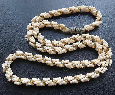 vintage cream & gold glass seed bead woven necklace barrel clasp 70s style -N33