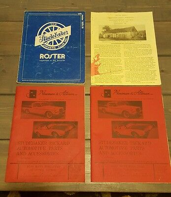 1975-76 Studebaker Drivers Club roster with 1980 newsletter and 2 parts books