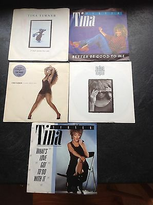 "5 X Tina Turner - 7"" Singles In Picture Sleeves."