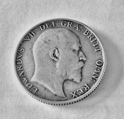 1902 - Silver - One Shilling - Great Britain - King Edward VII Coin. Fine