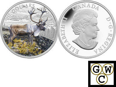 2014 'The Caribou' Colorized Proof $20 Silver Coin 1oz .9999 Fine (13334) (NT)