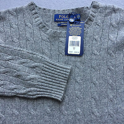 NWT $398 Polo Ralph Lauren CASHMERE COLLECTION Cable Knit Men's Sweater L gray
