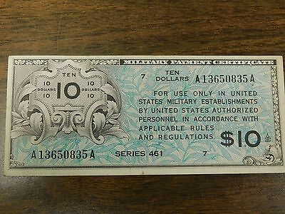 Series 461 $10 Military Payment Certificate!  No Pinholes, AUCTION!