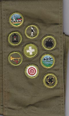 BSA Boy Scout Merit Badge Sash with 9 patches type E