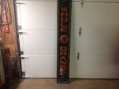 Early 1900's Drink Whole Orange Reverse Painted Glass Sign