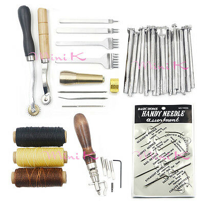1Set Hand Sewing Stitching Wheels and Stamping Beginner Leathercraft Tools Kit