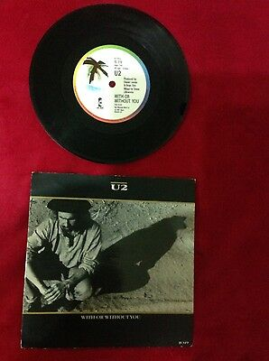 """U2 With or without you 7"""" single rock from 1987"""
