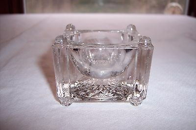 Vintage Square Clear Pressed Glass Footed Master Open Salt Dip