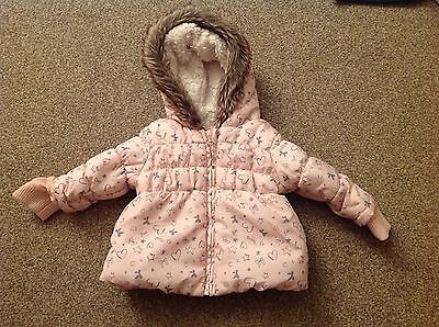 Girls Age 3-6 Months Hooded Pink Coat In Great Condition