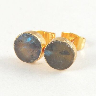8mm Round Natural Labradorite Stud Earrings Gold Plated T025094