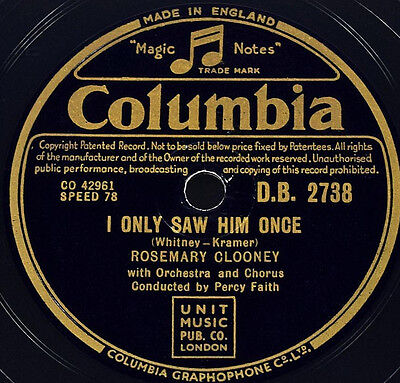 Schellackplatte - Rosemary Clooney - I Only Saw Him Once - gramophone record
