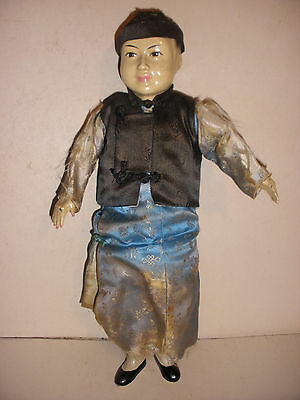 "Antique 19 /20thc Chinese boy 9.5"" doll silk clothes"